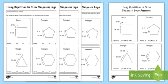 Using Repetition to Draw Shapes in Logo Differentiated Activity Sheet - worksheet, computing, programming, program, coding, algorithm, instructions, repetition, logo, turtl