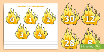 Numbers 0 to 30 on Flames Cut-Outs - EYFS, Early Years, People Who Help Us, firefighters, number cards, numbers, counting, maths.,numberc