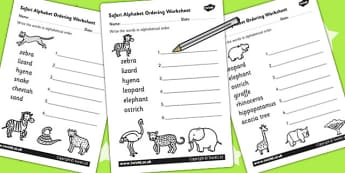 Safari Alphabet Ordering Worksheets - jungle, animals, a-z, sort