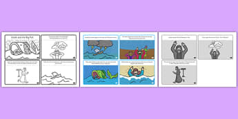 Jonah and the Big Fish Story Sequencing Black & White (4 per A4) - Jonah, bible, big fish, God, Ninevah, fish, help, biblical story, biblical stories, eaten by a fish, listen to god