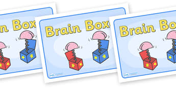 Group Signs (Brain Boxes) - brain, boxes, group signs, group labels, group table signs, table sign, teaching groups, class group, class groups, table label