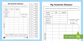 Favourite Dinosaur Pictogram Worksheet - favourite dinosaurs, dinosaur pictrogram worksheet, pictrograms, pictoram worsksheet, tally worksheet, ks2 maths