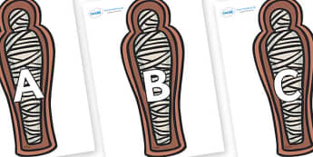 A-Z Alphabet on Mummies (Coffin) - A-Z, A4, display, Alphabet frieze, Display letters, Letter posters, A-Z letters, Alphabet flashcards