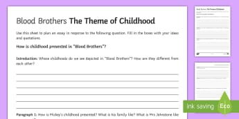 Childhood LA Essay Plan Activity Sheet Activity Sheet to Support Teaching on Blood Brothers by Willy Russell  - Blood Brothers, Willy Russell, childhood, theme, Eddie, Edward, Mickey, Linda, Sammy, Mrs Johnstone,
