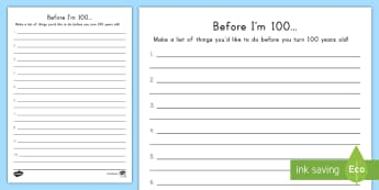 100th Day of School Before I'm 100... Activity Sheet - 100th Day of School, bucket list, all about me, 100 days of school
