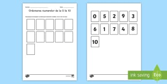 Ordonarea numerelor de la 0 la 10 - Activitate - matematică, numere, numerație, 0-10, ordonarea numerelor, activități cu numere,Romanian