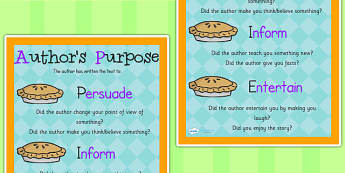 Authors Purpose PIE Poster - writing, authors purpose, literacy