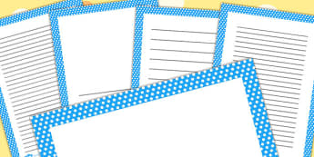 Blue And White Polka Dot Page Borders - writing aid, templates