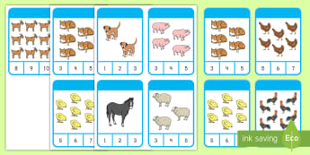 Farm Animal Counting Peg Cards Activity - Early Childhood Animals, Animals, Pre-K Animals, K4 Animals, 4K Animals, Preschool Animals, Farm Ani