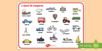 I Mezzi di Trasporto Vocabolario Illustrato - mezzi, di, trasporto, vocabolario, illustrato, trano, macchina, bicicletta, italiano, italian, mater