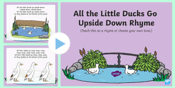 All the Ducks Go Upside Down Rhyme Song PowerPoint - EYFS, Early Years, Key Stage 1, KS1, spring, seasons, weather, duck, duckling, pond, park, farm, new