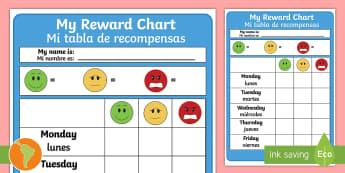 Reward Chart US English/Spanish (Latin) - reward chart, behaviour management,behavior chart, spanish, eal
