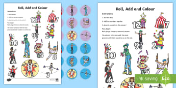 Circus Roll Count And Place A Counter Worksheet - counting, maths