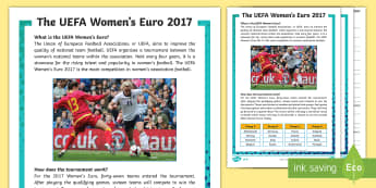 KS2 UEFA Women's Euro 2017 Differentiated Reading Comprehension Activity - football, tournament, information, reading, sport