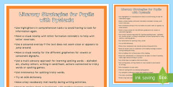 Dyslexia Strategies  A4 Display Poster - literacy strategies, dyslexia, dyslexia supports, dyslexia prompts, literacy prompts, dyslexia strat