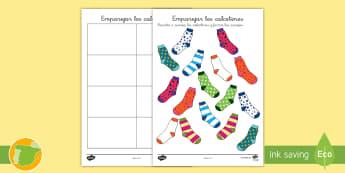 Ficha de actividad: Emparejar los calcetines - emparejar, patrones, calcetines, colores, color, ,Spanish
