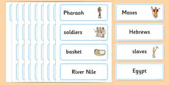 Moses Word Cards - Moses, Egypt, Hebrews, slaves, Pharaoh, basket, God, word card, flashcards, cards, palace, shepherd, burning bush, plague, Primised Land, law, stone, ten commandments, bible, bible story