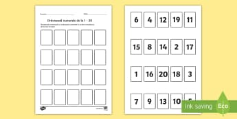 Ordonează numerele în concentrul 0- 20 - Joc - matematică, numere, ordonarea numerelor, 0-20, concentrul 0-20, exerciții, jocuri, română, mater
