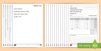 Edexcel Style GCSE Combined Science Cells and Control Test - biology, assessment, AFL, topic 2, cell, nervous system, nerve, neurone, coordination, nervous respo