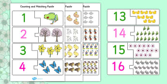 Springtime Themed Counting Matching Puzzle - spring, puzzles, games