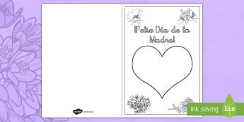 Felicitación de huellas: Día de la Madre - felicitación, tarjeta de regalo, día de la madre, día de las madre, madre, mamá, mami, colorear,
