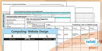 Computing: Website Design Year 6 Assessment Pack