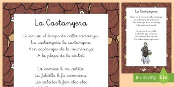 Hoja informativa: Canción de la Castañera (versión catalana)  - otoño, fiestas, tradiciones, castañas, castañera, versión catalán, ,Spanish