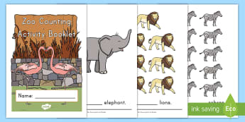 Zoo Animals Counting Math Activity Booklet - Early Childhood Animals, Animals, Pre-K Animals, K4 Animals, 4K Animals, Preschool Animals, Farm Ani