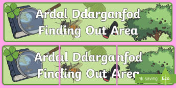 Finding Out Area Display Banner English/Welsh - finding out, science area, ardal ddarganfod, foundation phase, welsh, display, Welsh