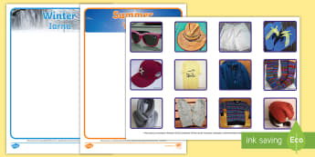 Photo Summer and Winter Clothes Sorting Activity English/Romanian - Photo Summer and Winter Clothes Sorting Activity - sorting, activity, photo, summer, winter, clothes
