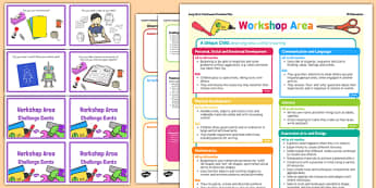 Workshop Area Continuous Provision Plan Poster and Challenge Cards Pack Reception FS2