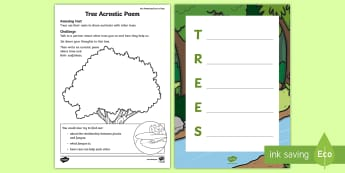 Tree Acrostic Poem Activity Sheet - amazing fact august, poetry, english, KS1, amazing fact, science, worksheet