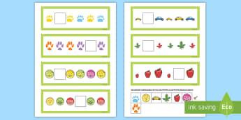 Cartonașe cu elementul lipsă din șirul logic Activitate - formă, culoare, mărime, gândire logică, activități , jocuri matematice, Romanian