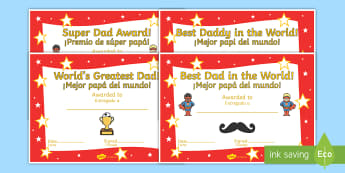Father's Day Certificates English/Spanish - Father's day blank card templates, design, father's day card, father's day cards, father's day a