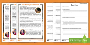 The History of Halloween Differentiated Reading Comprehension Activity - Celebrations, Reading strategies, guided reading, literacy, Reading groups,Australia
