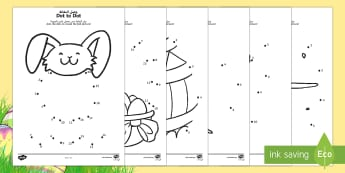 Easter Dot to Dot Activity Sheets Arabic/English - EYFS, Early Years, KS1, Easter, Easter Bunny, chicks, Easter eggs, number recognition, numbers to 10
