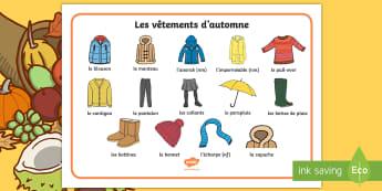 Set de mots : les vêtements d'automne - saisons, automne, habits, vocabulaire, manteau, French