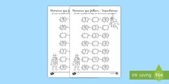 Ficha de actividad: Números que faltan - Superhéroes - enlaces numéricos, sumas, sumar, adición, superhéroes, héroes,mates, matemáticas, ficha, ,Spani