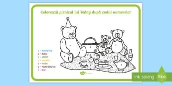 Picnicul lui Teddy Colorează după codul numerelor - numere, culori, numărul și cifra, culori, arte, numerație