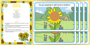 EYFS Sunflower Playdough Recipe and Mat Pack - EYFS, Early years, fine motor skills, physical development, malleable