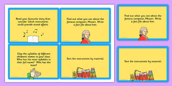 LKS2 Music Challenge Cards - Music, Sound, Card, Challenge, Notes