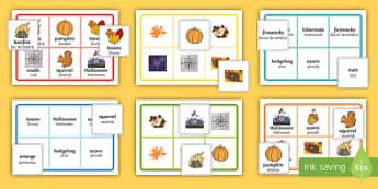 Autumn Bingo Game Romanian/English  - Autumn, seasons, september, october, topics, ks1, harvest, leaf, EAL