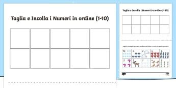 Taglia Incolla i numeri in ordine fino a 10 Invernale - Inverno, numeri, schema, matematica, ritaglia, incolla, italiano, italian, english, inglese