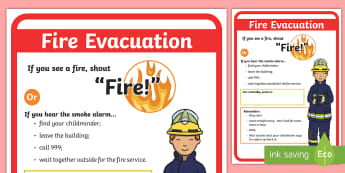 Childminder Fire Evacuation Procedure A4 Display Poster - fire, emergency, fire drill, fire alarm