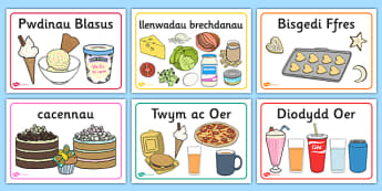 Cafe Place Mats Welsh Translation - roleplay, EAL, languages