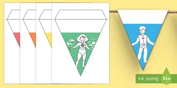 De nombres temáticas - superhéroes Banderitas - banderitas, nombres, superhéroes, Spanish