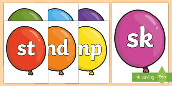 Phase 4 Blends and Clusters on Balloons Display Posters  - Phoneme Set on Party Balloons - Phoneme set, phonemes, phoneme, Letters and Sounds, DfES, display, P
