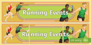 Athletics Running Display Banner - pe, sprinting, hurdles, relay, sprint start, distance run