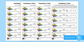 Counting in Tens Go Respond Activity Sheet - year 2, maths, homework, place value, counting in tens, more, number pattern, number sequence, count