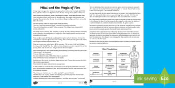 Māui and the Magic of Fire Story Print-Out